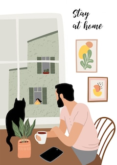 Stay at home. young man looks out window. illustration.