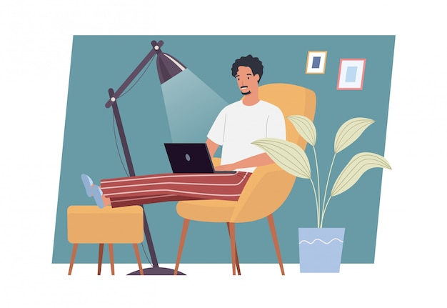 Stay at home. young man working on laptop computer at home. freelance, work at home, remote work and home office. vector illustration in a flat style