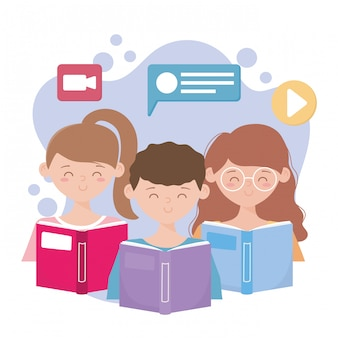 Stay at home, young people with books video call education online