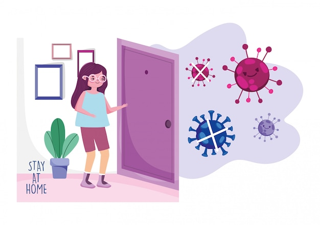Stay at home, young woman in room house quarantine prevention, covid 19