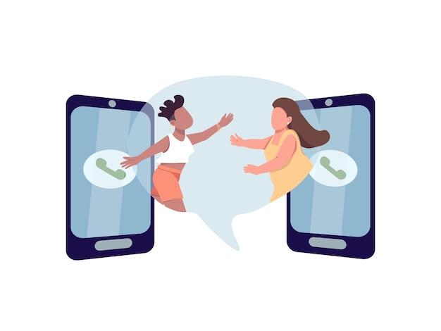 フラットコンセプトと連絡を取り合いましょう。二人の女性が抱きしめたい。多民族のレズビアンのカップル。ウェブデザインのための家族の2d漫画のキャラクター。電話でのつながりクリエイティブなアイデア