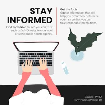 コロナウイルスの発生時に情報を入手し、事実を入手するソーシャルテンプレートソースwhoベクター