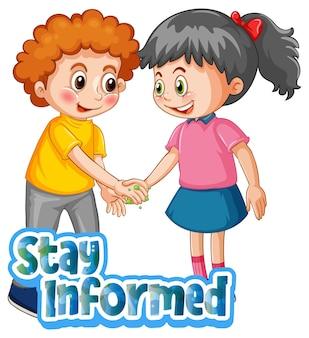 2人の子供と一緒に漫画スタイルで情報を入手したフォントは白い背景で孤立した社会的距離を維持しません