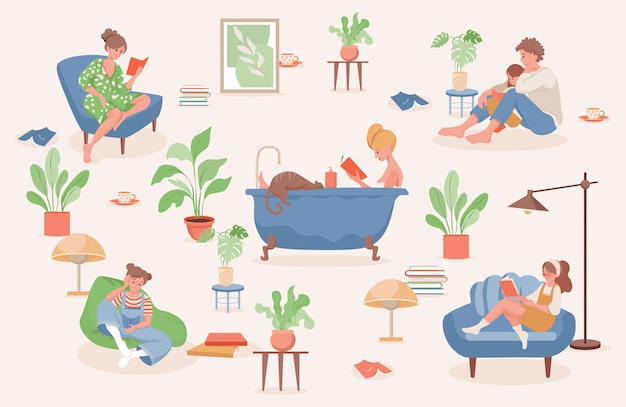 Stay and relax at home flat illustration. people spending weekend at home together.