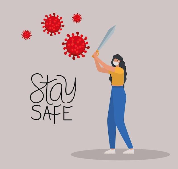 하나의 안전 마스크, 빨간색 입자 및 하나의 검 일러스트 디자인으로 안전하고 여성을 유지하십시오.