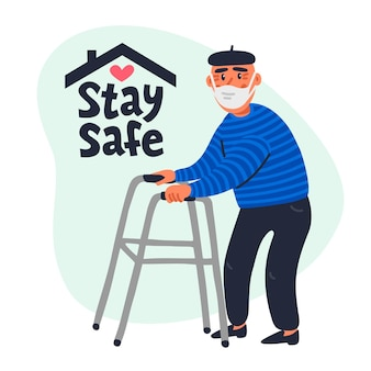 Оставайтесь в безопасности концепции. - социальный плакат с пожилым мужчиной в маске