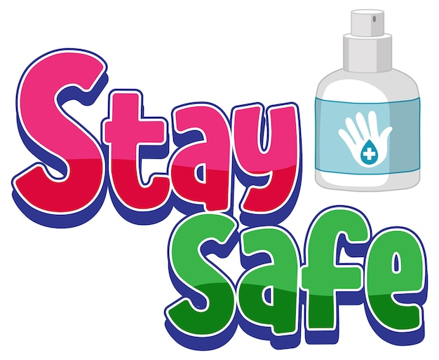Stay safe font in cartoon style isolated on white background