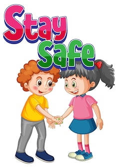 2人の子供と一緒に漫画スタイルで安全なフォントを維持する白い背景で社会的距離を隔離しないでください