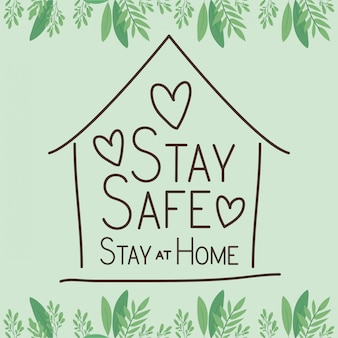 Stay safe at home and house building with hearts vector design