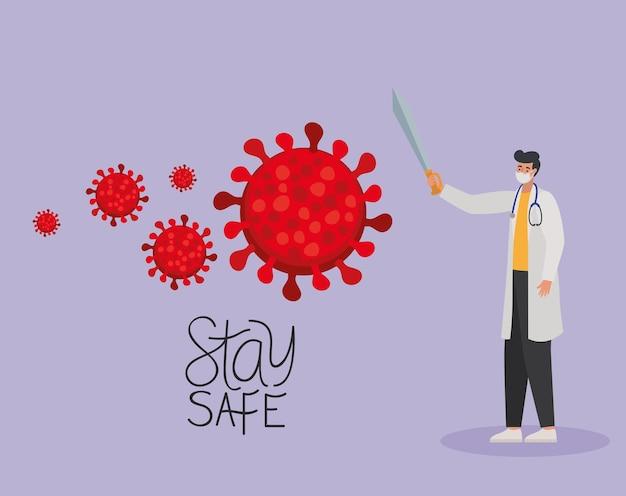 하나의 안전 마스크, 빨간색 입자 및 하나의 검 일러스트 디자인으로 안전한 Letterig와 남성 의사를 유지하십시오. 프리미엄 벡터
