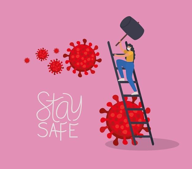 계단 일러스트 디자인에 하나의 안전 마스크, 빨간색 입자 및 하나의 회색 망치로 안전한 글자와 여성을 유지하십시오.