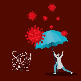 Stay safe lettering and female doctor with one safety mask, red particles and one umbrella illustration design