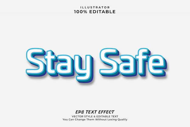 Stay safe modern text effect, editable