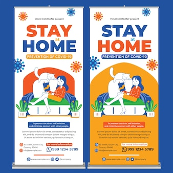 Stay safe and stay healthy poster print template in flat design style