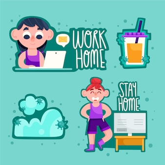 Stay safe and work from home badge set