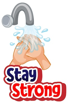 Stay strong font design with virus spreads from shaking hands on white background