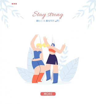 Stay strong motivate page for mobile app stories