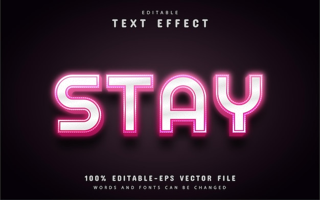 Stay text, pink neon style text effect