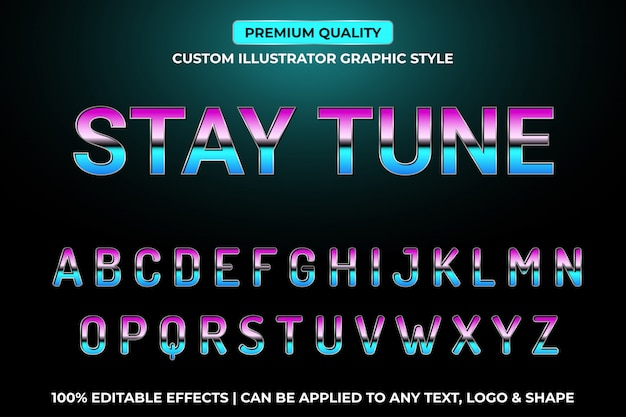 Stay tune retro vintage vector text effects