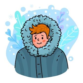 この冬のコンセプトを暖かくしてください。冬服の男。あなたのデザインの季節のイラスト。