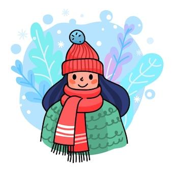 この冬のコンセプトを暖かくしてください。冬の服を着た女性。あなたのデザインの季節のイラスト。