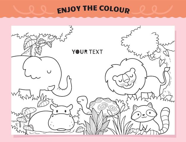아이들을위한 색칠 공부 야생 동물 유지