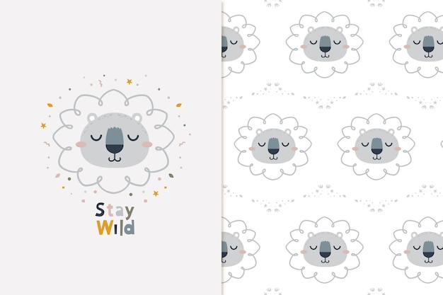 Stay wild lion and seamless pattern