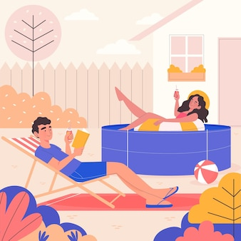 Staycation in the backyard concept