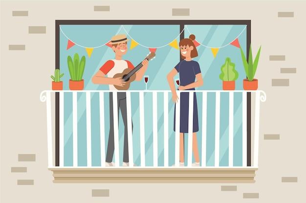 Concetto di balcone di staycation a casa
