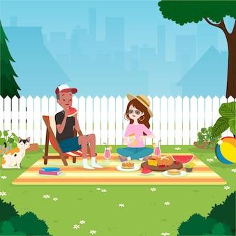 Пребывание в иллюстрации на заднем дворе