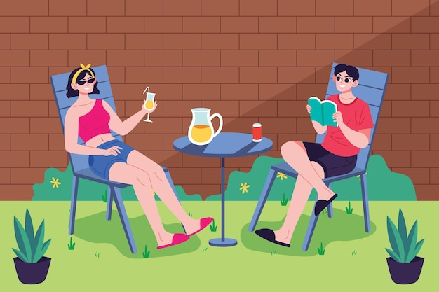 女と男の裏庭での滞在