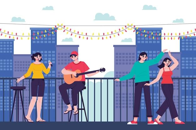 Отдых на террасе на крыше с друзьями