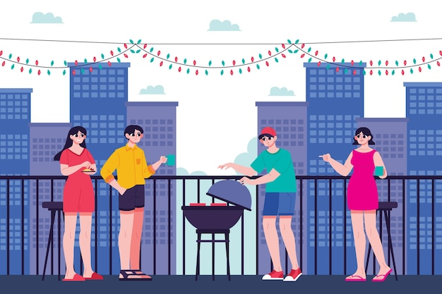Staycation on a rooftop terrace with barbecue