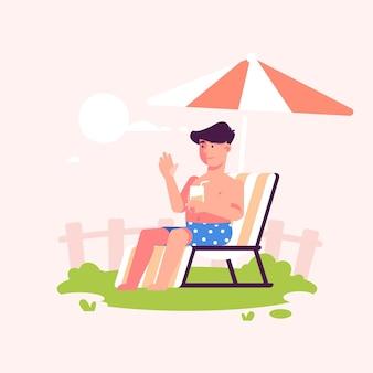 太陽staycationコンセプトに坐っていた男