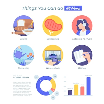 Staying at home concept infographic