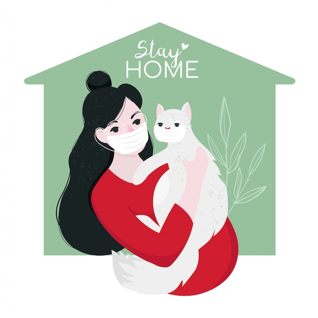 Staying home with self quarantine.a girl in home with medical mask, hugs her cat. protect from viruses