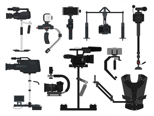 Steadicam vector video digital camera professional film equipment stabilizer set of photographer videographer movie technology production isolated