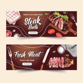 구운 고기, 냅킨 수채화 일러스트와 함께 스테이크 배너 디자인.