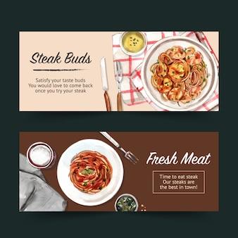 Steak banner design with spaghetti, napkins watercolor illustration.