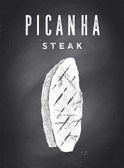 Steak, chalkboard. poster with steak silhouette, text picanha, steak. typography kitchen poster template for meat business - shop, market, restaurant, menu. chalkboard background. vector illustration