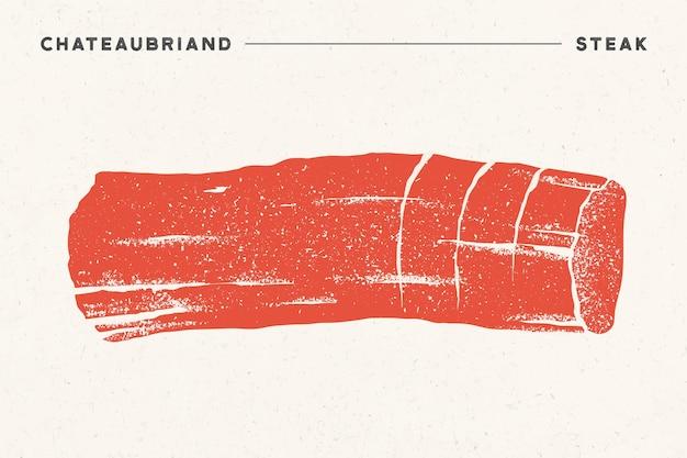 Стейк, шатобриан. плакат с силуэт стейка, текст шатобриан, стейк. шаблон типографии логотипа для мясного магазина, рынка, ресторана.