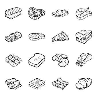 Steak and fast food hand drawn icons pack