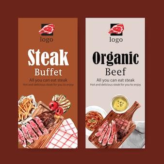 Progettazione dell'aletta di filatoio della bistecca con bistecca di manzo, illustrazione dell'acquerello del tovagliolo.