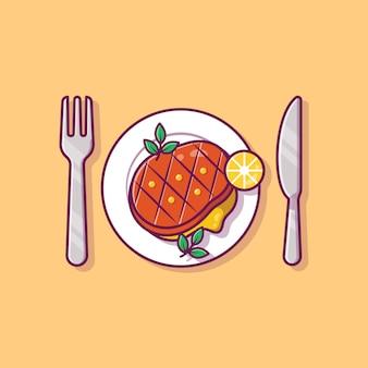 Стейк еда на тарелку с ножом и вилкой мультяшный иллюстрации.