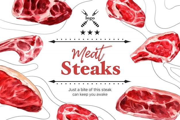 肉の水彩イラストの様々なタイプのステーキフレームデザイン。