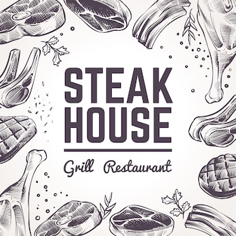 Steak house background with sketch meat