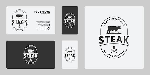 ステーキハウス、ビーフステーキ、レストランの新鮮な肉のロゴデザイン、牧場の牛