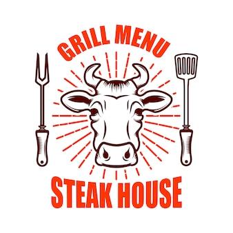 Стейк-хаус. голова быка и скрещенные кухонные ножи. элемент для логотипа, этикетки, эмблемы. иллюстрация