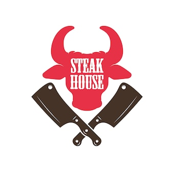 Steak house. bull head silhouette and crossed meat cleavers.
