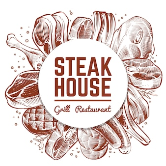Steak house grill restaurant banner